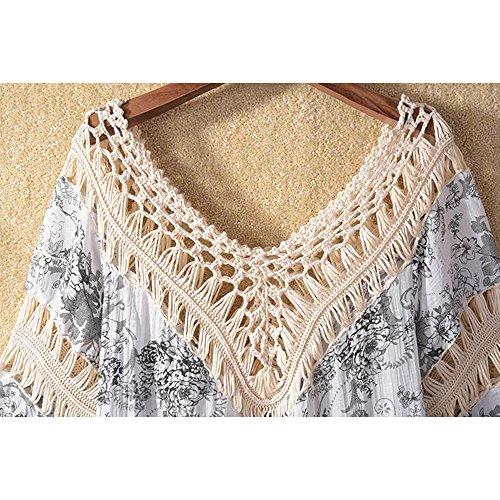 Eastlion Retro V-Kragen Bikini Bluse Quaste Strand Hemd Farbe 7