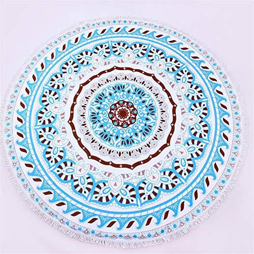 DYY DYYMikrofaser-Handtuch, rund, Yoga-Matte mit Quaste, 150 cm bedrucktes Badetuch, A_2, 150x150cm -