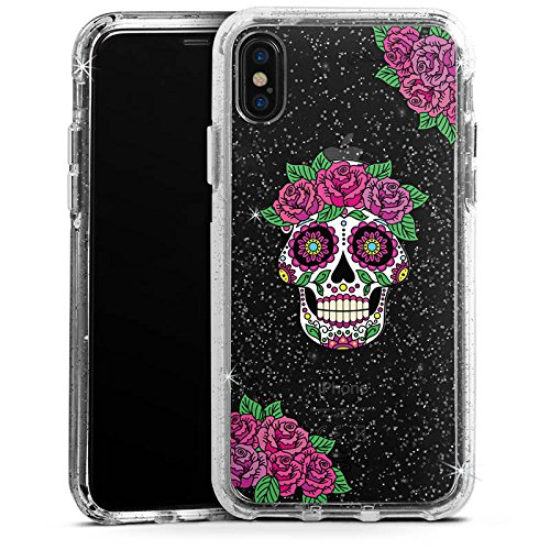 Apple iPhone X Bumper Hülle Bumper Case Glitzer Hülle Skull Frauen Totenkopf Blumen Bumper Case Glitzer silber