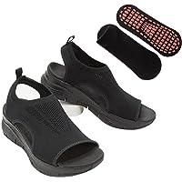 Chagoo Summer Washable Slingback Orthopedic Slide Sport Sandals, Comfy Sports Knit Sandals, Gradation Thick Bottom Fish…