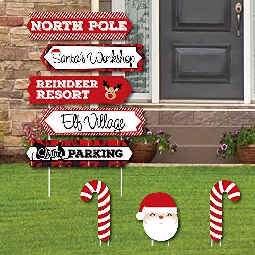 Big Dot of Happiness North Pole Street Sign Cutouts - Holiday & Christmas Yard Schilder Dekoration, 8 Stück -