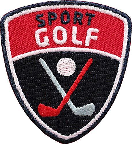 Club of Heroes 2 x Golf Sport Abzeichen 55 x 60 mm/mit Golfball Golfschläger Golfsport Aufnäher Aufbügler Sticker Wappen Patch für Kleidung Mode Tasche Rucksack -