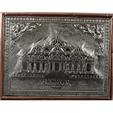 "[Sponsored]Embossed On Wood German Silver Copper Handicraft, Hand Crafted Delhi Akshardham / Swaminarayan Temple Small Spiritual Religious Wall Hanging Photo Frame Poster ( 13"" L X 10"" H ) Rectangle Silver Colour India, Indian Home Decoration De"