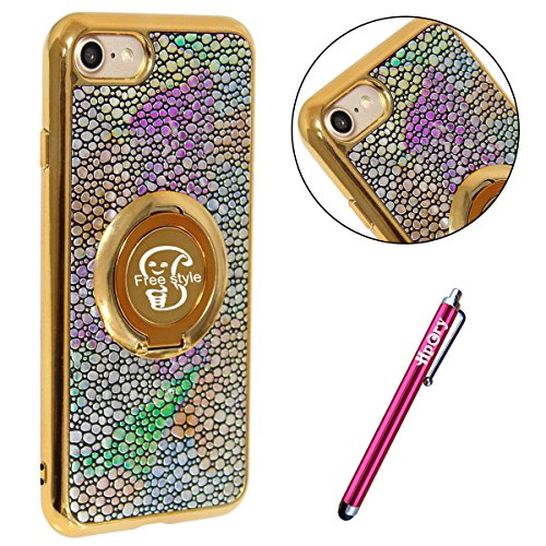 iPhone 7 Étui Soft TPU,iPhone 7 Case Cristal Clair,Hpory Beau élégant Luxury Ultra Thin Soft TPU Gel Silicone Cristal Clair Bling Brillant Miroir Placage Slim Fit Housse de Protection pour Fille Femme *18