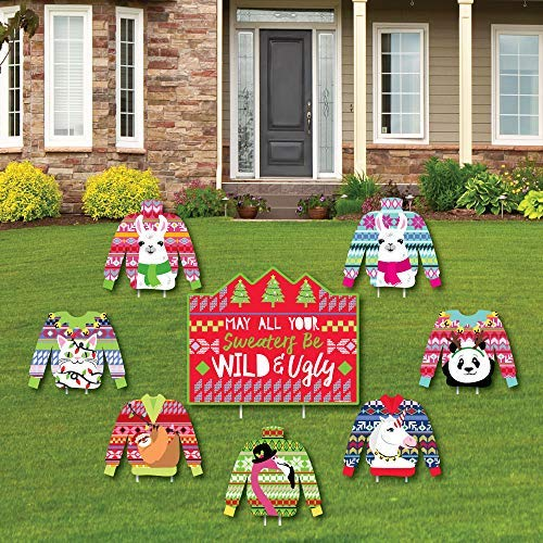 Big Dot of Happiness Wild and Ugly Sweater Party - Yard Sign und Outdoor Rasen Dekoration - Urlaub und Weihnachten Tiere Party Yard Schilder - Set von 8 Stück (Hässlich Weihnachten Pullover Dekorationen)