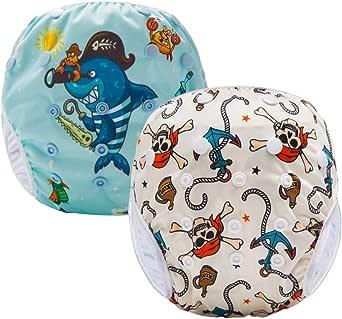 Pannolini Piscina Costume Contenitivo Neonato Bambino Riutilizzabili Pannolini da Nuoto Mare E Piscina Baby Slip Cover Lavabile Spiaggia Costumino Bimba Set 2 Adattabile