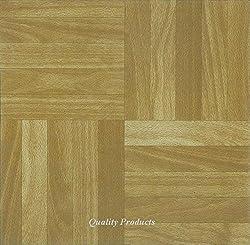 44 x Vinyl Floor Tiles - Self Adhesive - Kitchen / Bathroom, Sticky - Brand New - Square Wood Effect (2573)