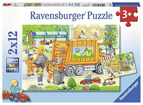 Ravensburger Puzzle 07617 Unterwegs mit Müllabfuhr und Kehrmaschine (Buch über Autos Für Kinder)