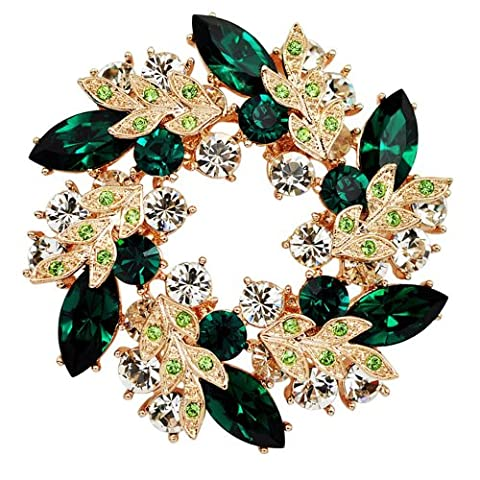 Chaomingzhen Gold Plated Austrian Crystal Large Noble Green Leaf Wreath Brooch Women