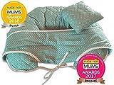 Cuscino per Allattamento, 4 in 1, in Cotone di Alta qualità, con Mini Cuscino e Imbragatura per Bimbo, Deluxe