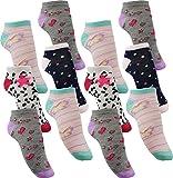 by Laake 12 Paar Mädchen Sneaker Kinder Socken 95% Baumwolle bunter Mix Gr. 23-38