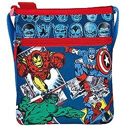 Perletti - Bolsa Bandolera plana Marvel Los Vengadores - Practica bolsa cruzada de viaje con Capitán América Iron Man Spiderman y Hulk - Bolso Avengers de hombro con cierre frontal - Azul - 21x18 cm