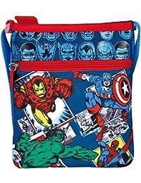 Perletti Marvel Comics Design Verstellbarer Schultergurt flach Umhängetasche Messenger mit Reißverschluss - 21 x 18 cm - Motiv von AVengers Iron Man Hulk Spiderman und Captain America - Blau