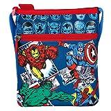 Marvel Avengers - Tracolla piatta bambino con Capitan America, Iron Man, Spiderman e Hulk - Blu - 21x18 cm - Perletti