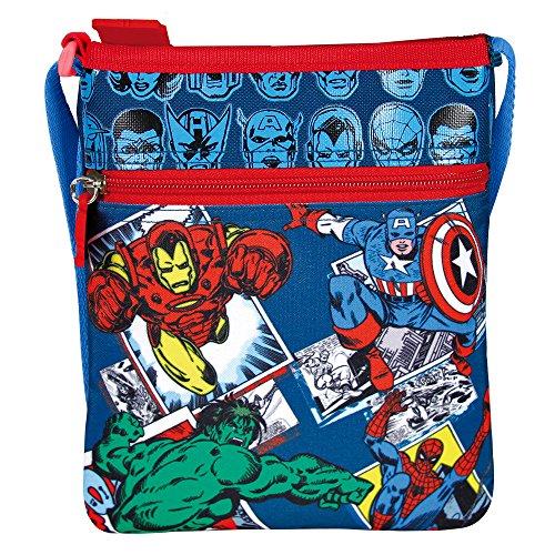 Perletti - Bolsa Bandolera plana Marvel Los Vengadores - Practica bolsa cruzada de viaje con Capitán...