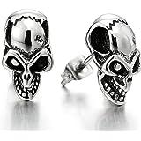 Teschio Gothic, Orecchini del Crepa Cranio con Zirconi da Uomo, Orecchini a Lobo, Acciaio Inossidabile 2 Pezzi