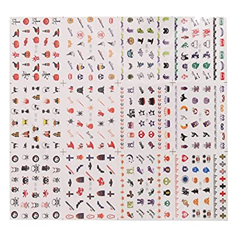 Sheet of Halloween Designs 3D Nail Art Stickers Nail Tip Decals Pattern 03