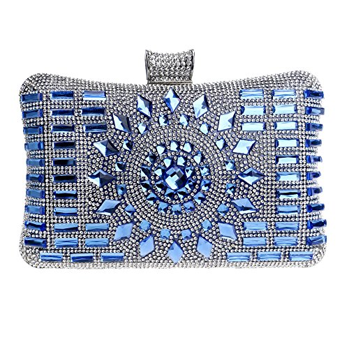 GODW Frauen Handtasche Diamant Kleid Abendtasche Damen Party Abschlussball Bankett-Handtasche Geldbörse,Blue-20 * 6 * 12cm