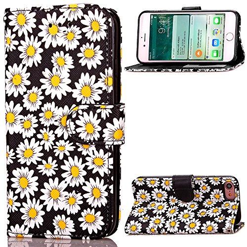 iPhone 7 Custodia, Cozy Hut ® Custodia iPhone 7 Cover Stile Libro Cover Premium Custodia in PU Pelle Flip Case Wallet Cover per iphone 7, Fioritura Crisantemo - nero