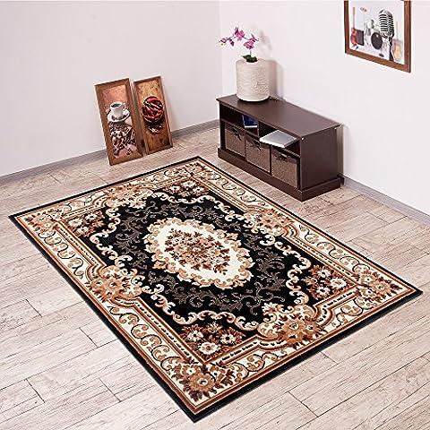 Teppich Klassisch Gemustert ins Wohnzimmer - Muster Ornamente Meliert Beige Schwarz - Bordüre Viereckig - Viele Größen Neuheit 160 x 220 cm