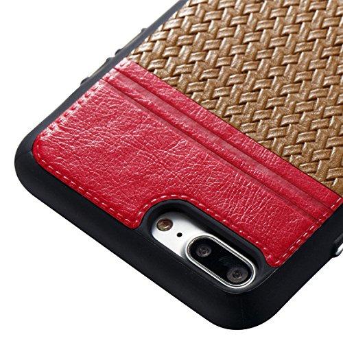 Étui en gel doux iPhone 8 Plus, Coque iPhone 7 Plus, Lifetrut Ultra Mince Doux [Motif en cuir] Housse en Caoutchouc TPU pour iPhone 8 Plus/ iPhone 7 Plus [01] E208