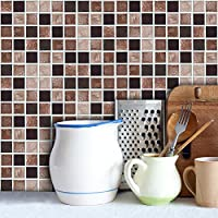 "CHEZMAX 18 PC Set PVC Backsplash Tile Stickers Bathroom Kitchen Peel and Stick Wall Art Decals Brown and Black Checked 3.94"" X 3.94"""