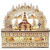 Dekohelden24 Zauberhafter LED Holz-Adventskalender, Seiffener Kirche mit Kurrendefiguren, verschneit, mit 24 Fächern zum Bestücken, ca. 45 x 11 x 43 cm