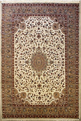 RugsTC 216 x 305 Pak Persian Area Rug with Silk & Wool Pile - Floral Design Hand-Knotted in Ivory,Beige,Orange Colors | a 213 x 305 Rectangular Rug -
