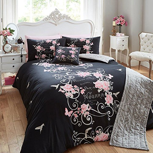 double-duvet-cover-set-complete-with-matching-cushion-runner-black-grey-pink-rose-butterfly-design