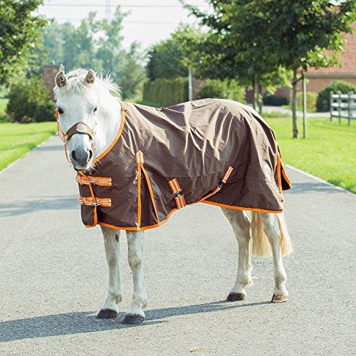 Shetty und Pony Regendecke, Outdoordecke Gr. 75 - 115, Groesse:75, Farbe:orange/braun