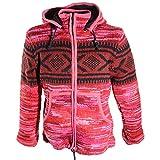 Kunst und Magie Hippie Goa Nepal Strickjacke Poncho Woll-Pullover in Pink mit Abnehmbarer Zipfelkapuze, Größe:XXL, Farbe:Pink