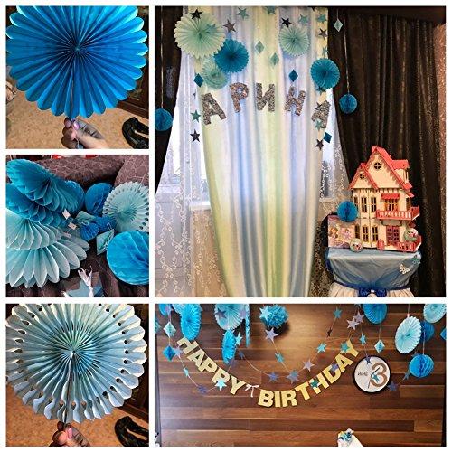 deco bapteme garcon bleu papier boule eventail decoration baby shower mariage anniversaire noel. Black Bedroom Furniture Sets. Home Design Ideas