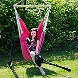 XXL Hängestuhl 2 Personen max. 150 kg 185×130 cm Hängesitz 100% Baumwolle Hängesessel inkl. Swivel Trendfarbe 2015 Orchidee - 3