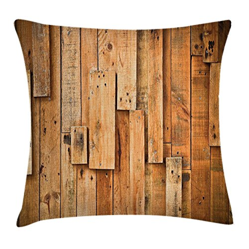 Teak Plank (ruichangshichengjie Lodge Style Teak Hardwood Wall Planks Image Print Farmhouse Vintage Grunge Design Artsy, Decorative Square Accent Pillow Case, 18 X 18 Inches, Brown)