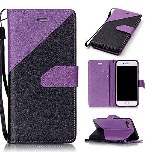 iPhone 7Case, Case First due colori design PU pelle portafoglio Case Cover Flip Cover con Cinturino da Polso e Card Slot per iPhone 7 Lila + Schwarz