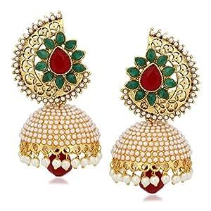Shining Diva Traditional Jewellery Stylish Fancy Party Wear Pearl Jhumki / Jhumka Earrings For Girls & Women