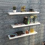 aimu Set mit 3 schwebenden Wandregalen für Zuhause, CD/DVD, Spielzeug, Wandregal, 50 x 12 x 1,5 cm, Weiß