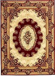 """Traditioneller Klassischer Orientalischer - Rot Creme Beige - Perserteppich - Teppich Für Ihre Wohnzimmer - Orientalisches Blumen Muster - Konturenschnitt Blumen Ornamente Mandala 3D-Effekt Gewebter Teppich in hoher Qualität """" ISKANDER """" 300 x 500 cm Groß"""