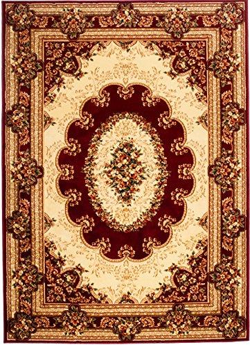 Perserteppich - Rot Creme Beige - Traditioneller Klassischer Orientalischer - Teppich Für Ihre Wohnzimmer Esszimmer - Orientalisches Geblumtes Muster - Konturenschnitt Blumen Ornamente Mandala 3D-Effekt