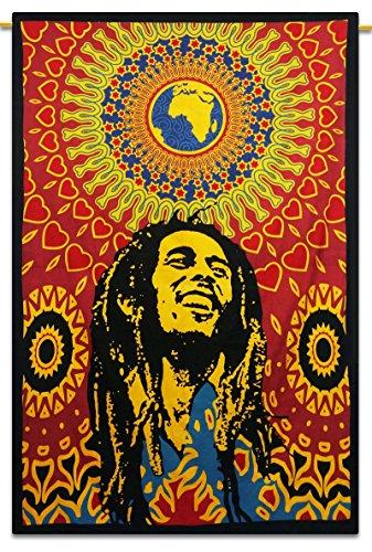 "Bob Marley Indian Cotton Tapisserie Wandbehang Twin-Size-Picknick-Dekor-Wurf 84"" x 56"" Zoll"