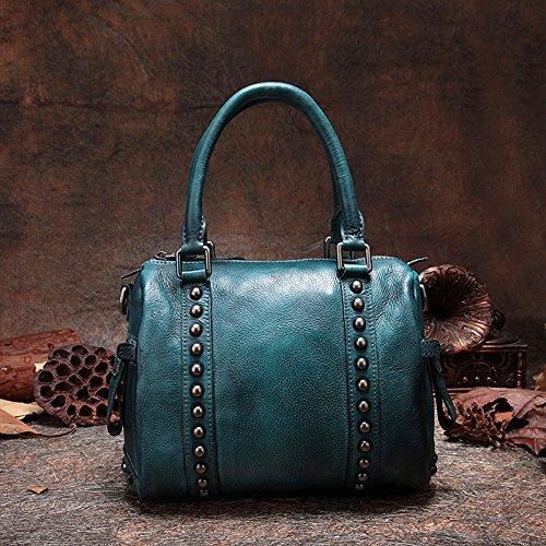 Frotter à la main cuir Retro Pack unique de loisirs sac d'épaule sac sac rivet classique Blue