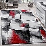 Paco Home Designer Teppich Modern Wohnzimmer Teppiche Kurzflor Meliert Rot Grau Schwarz, Grösse:70x140 cm