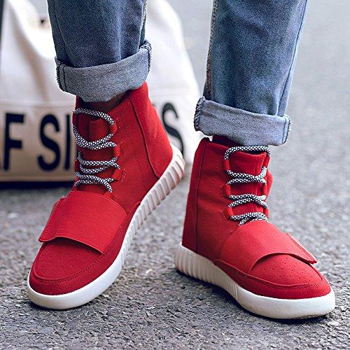 MUOU Schuhe Herrenmode Sneaker High Top Männer Freizeitschuhe Breathable Canvas Herren Schnürschuhe Rot