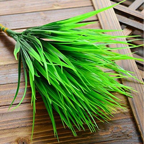 7-fork grün Gras Künstliche Pflanzen Kompatibel für Kunststoff Blumen Haushalt Store Schreibtisch Rustikal Clover Pflanze (Gras Schreibtisch)