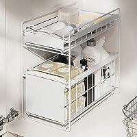 HUIJ sous évier étagère sous Evier Rack etagère de Rangement Cuisine Panier de Rangement Coulissant à 2 Niveaux pour…