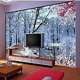 Winter Schnee Wandbilder Naturbaum Birke Fototapeten für Wohnzimmer TV Rückseite Tapeten Roll Home Wall Decor