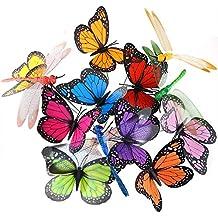austor Libélula Mariposa estacas decoraciones de jardín y patio decoración suministros para fiestas Mariposas para maceta para el jardín, 26unidades)