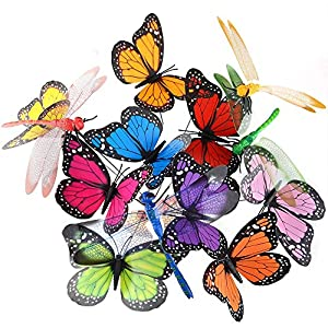 Austor 26 PCS Garden Butterflies on Sticks Dragonfly Butterfly Stakes Butterfly Decorations Ornaments Party Supplies