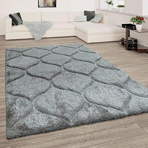 Paco Home Hochflor Teppich, Kuscheliger Wohnzimmer Pastell Shaggy, 3D Muster m. Soft Garn, Farbe:Grau, Grösse:200x280 cm