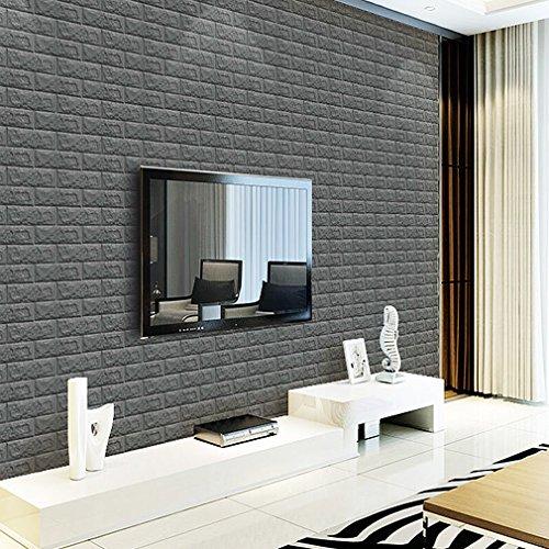 Grau-3D-Ziegel-Tapete-Wandpaneele-Stereo-Wandtattoo-...